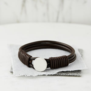 Personalised Hidden Message Silver And Leather Bracelet