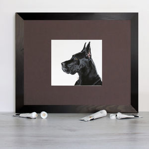 Black Great Dane Signed Mounted Giclée Print