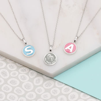 Personalised Sterling Silver New Baby Necklace