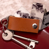 Men's Tan Leather Personalised Photo Keyring Gift - accessories