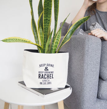 Personalised Canvas Plant Pot 'Keep Growing'