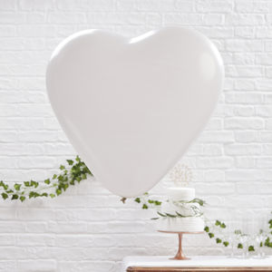 Giant White Heart Shaped Balloons Three Pack - decoration