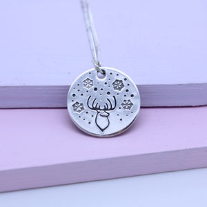 Deer Snowflake Sterling Silver Necklace