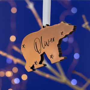 Copper Polar Bear Personalised Christmas Bauble