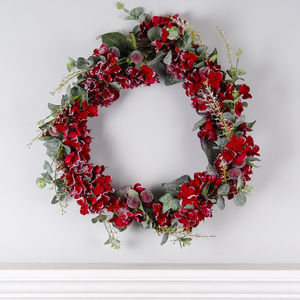Red Hydrangea, Berry And Eucalyptus Christmas Wreath - wreaths