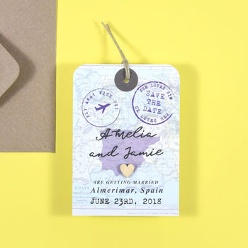 Vintage Map Save The Date Luggage Tag
