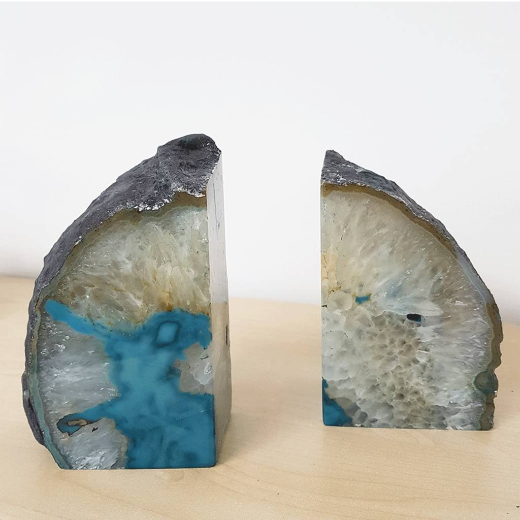 Teal Crystal Agate Bookends