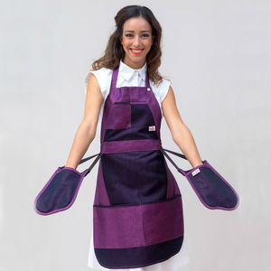 Lynda Denim Apron With Integrated Oven Gloves