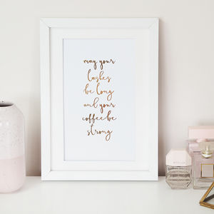'May Your Lashes Be Long' Foil Wall Art Print