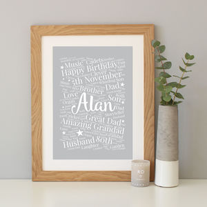 Personalised 80th Birthday Gift - typography