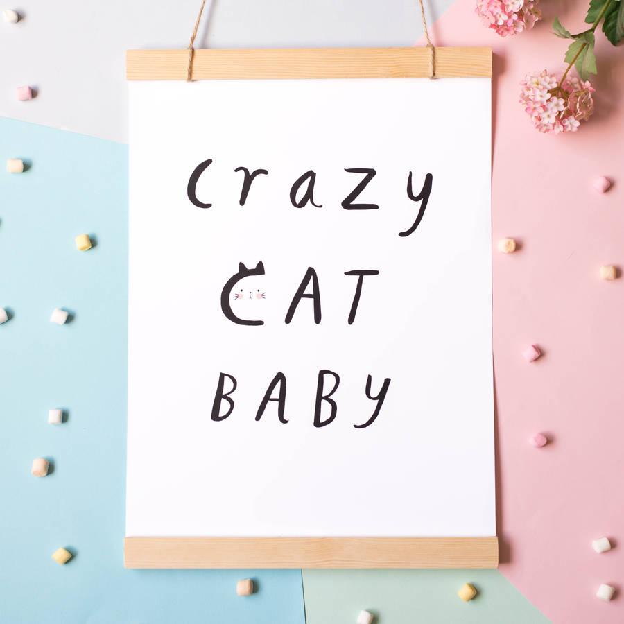 Crazy Cat Baby A3 Print