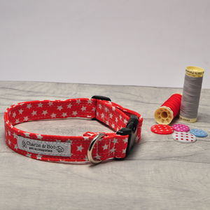 Red And White Star Dog Collar For Girl Or Boy Dogs - dog collars