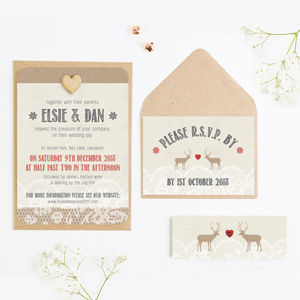 Lace Stag Christmas Wedding Invitations - invitations