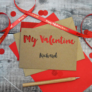 Personalised My Valentine Glitter Cut Out Card - valentine's cards
