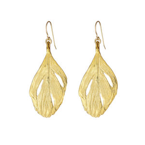 I Can Fly Maxi Swan Feather Earrings In Gold - earrings