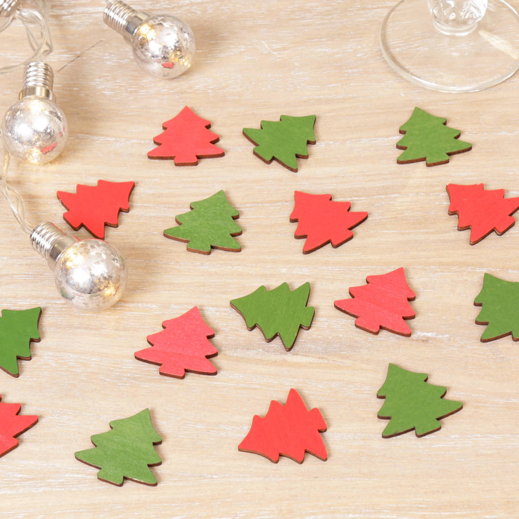 Festive Wooden Christmas Tree Table Scatters By Dibor
