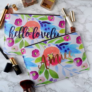 Personalised Hello Rose Gold Make Up Bag