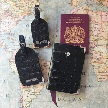 Black Crocodile Leather Passport Cover Luggage Tags