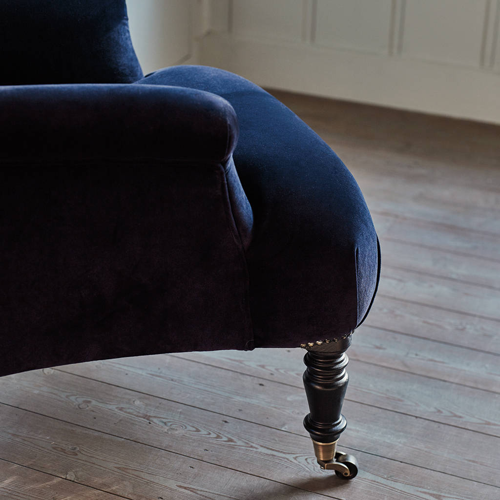 Finley Velvet Armchair Midnight Blue