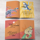 orange and yellow personalised book pages from grandparents book for kids
