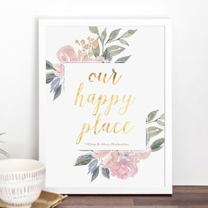 'Our Happy Place' Personalised New Home Print