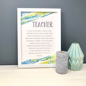 Personalised Teacher Gift Poem 'Teacher'