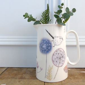 Dandelion And Birdy Farmhouse Jug - crockery & chinaware