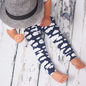 Navy Cloud Unisex Child And Baby Leggings - the 'no pink or blue' children's collection