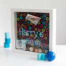 Personalised Gears Print Money Box Frame