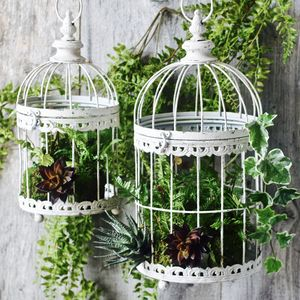 Vintage Ornate Birdcage Planters Set Of Two - pots & planters