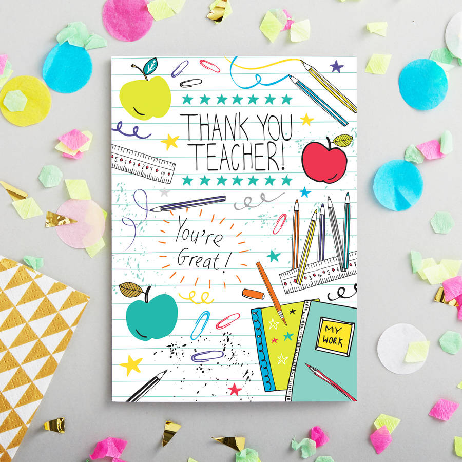 Teacher thank you card by jessica hogarth notonthehighstreet teacher thank you card m4hsunfo