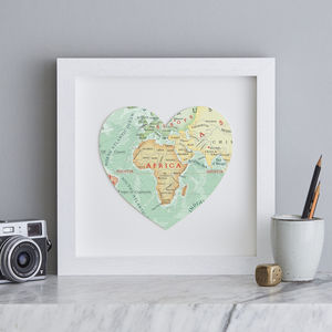 Personalised Location Africa Map Heart Print - maps