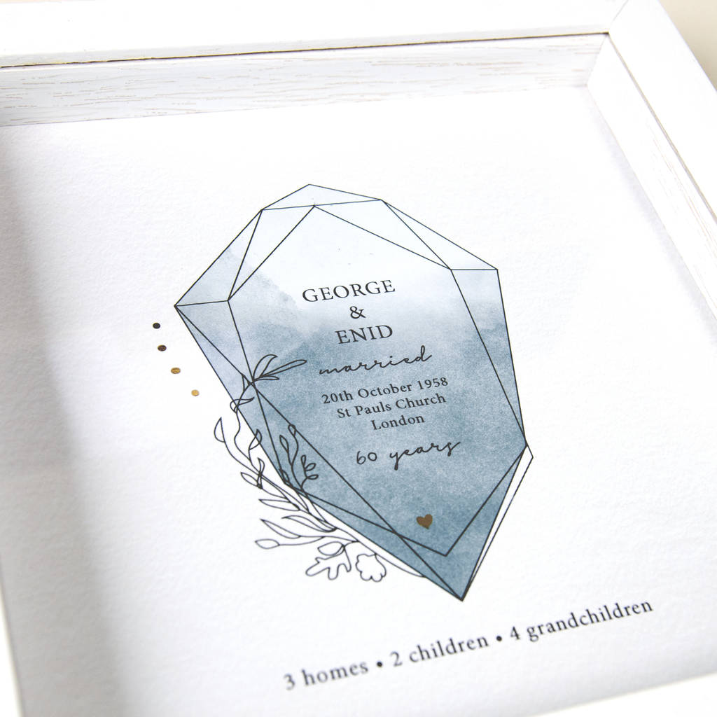 60Th Anniversary Gifts >> Framed 60th Anniversary Gift With Gemstone Design By Ant Design