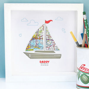 Personalised Dad Map And Boat Framed Art