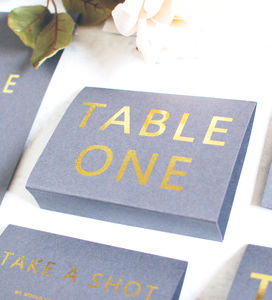 Grey And Gold Wedding Table Name/Number Free Standing