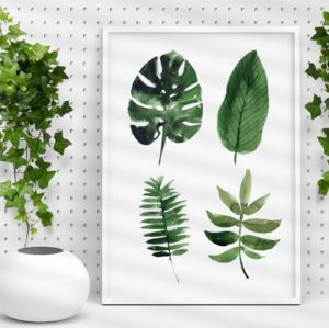 Tropical Leaf Print Watercolour Illustration Art - still life