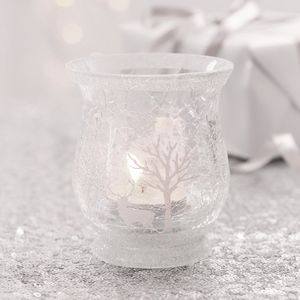 White Snow Scene Glass Tea Light Holder