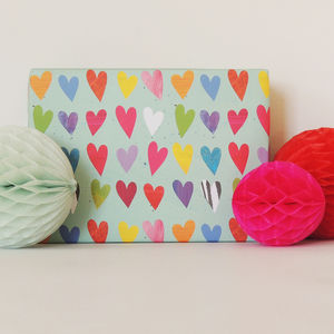 Coloured Hearts Gift Wrap Two Sheets