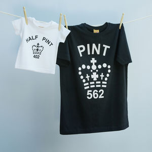 Matching Pint And Half Pint T Shirt Set Black And White
