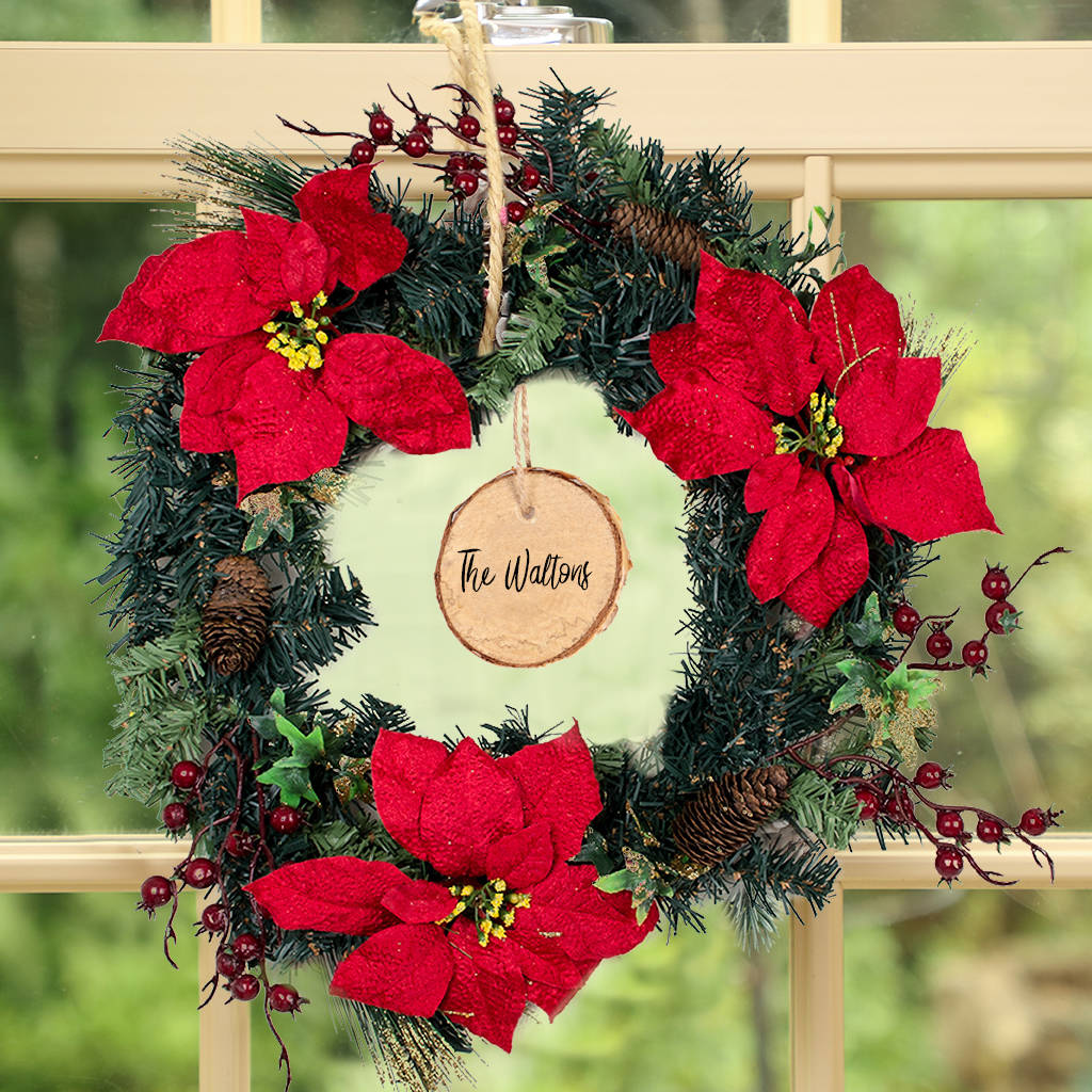 Christmas Wishes Personalised Poinsettia Wreath