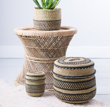 Milulu Grass Lidded Black And Natural Storage Basket