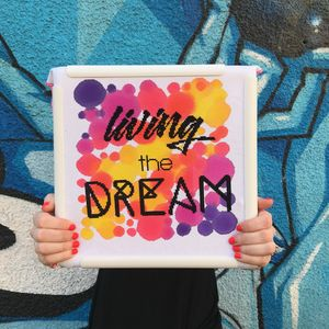 'Living The Dream' Modern Cross Stitch Kit - new in home