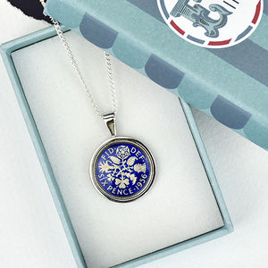 Sixpence 60th 1956 Enamel Coin Necklace Pendant - new in jewellery