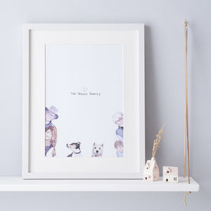 Peekaboo Family Illustrated Portrait - personalised gifts