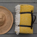 Wool Picnic Blanket Leather Straps/Waterproof Backing