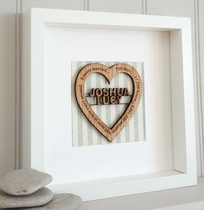 Cotton Anniversary Personalised Oak Heart