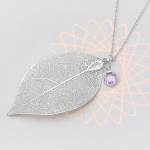 Caitlan November Leaf Birthstone Personalised Necklace