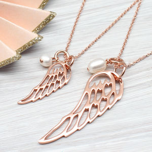 Rose Or Yellow Gold Angel Wing And Pearl Necklace - necklaces & pendants