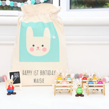 Wooden Toy Rabbit School Set With Personalised Bag