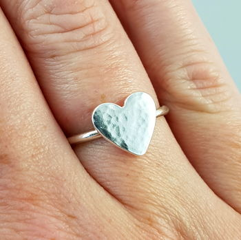Hammered Heart Ring Handmade in Sterling Silver